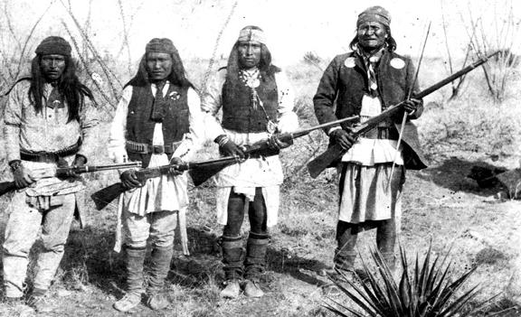 """Navy SEALS Code name for Osama Bin Laden was """"Geronimo"""" Apache_chieff_Geronimo_right_and_his_warriors_in_1886"""